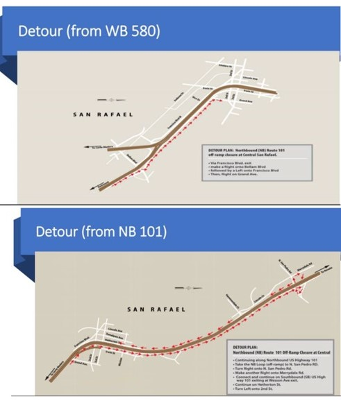 Central-San-Rafael-Harbor-Bridge-map detours WB 580 and NB 101