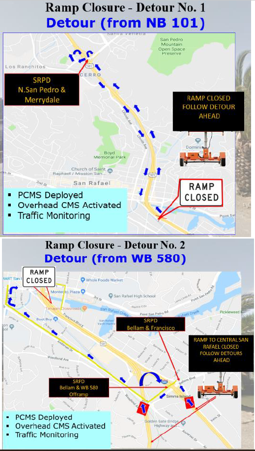 Caltrans 101 NB off ramp replacement detours for october closure