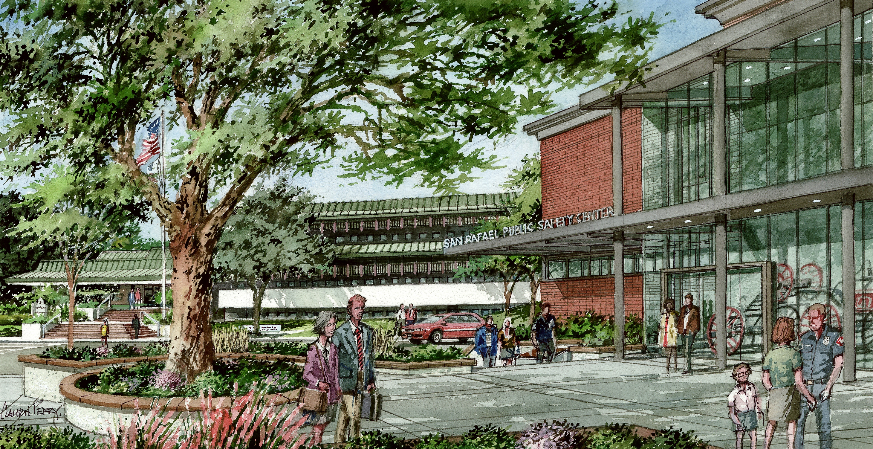 Watercoloring rendering of the new Public Safety Center