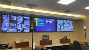 Photo of TV's mounted on the wall at the San Rafael Public Safety Center