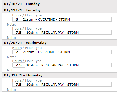 Full-time employees example timesheet for storms