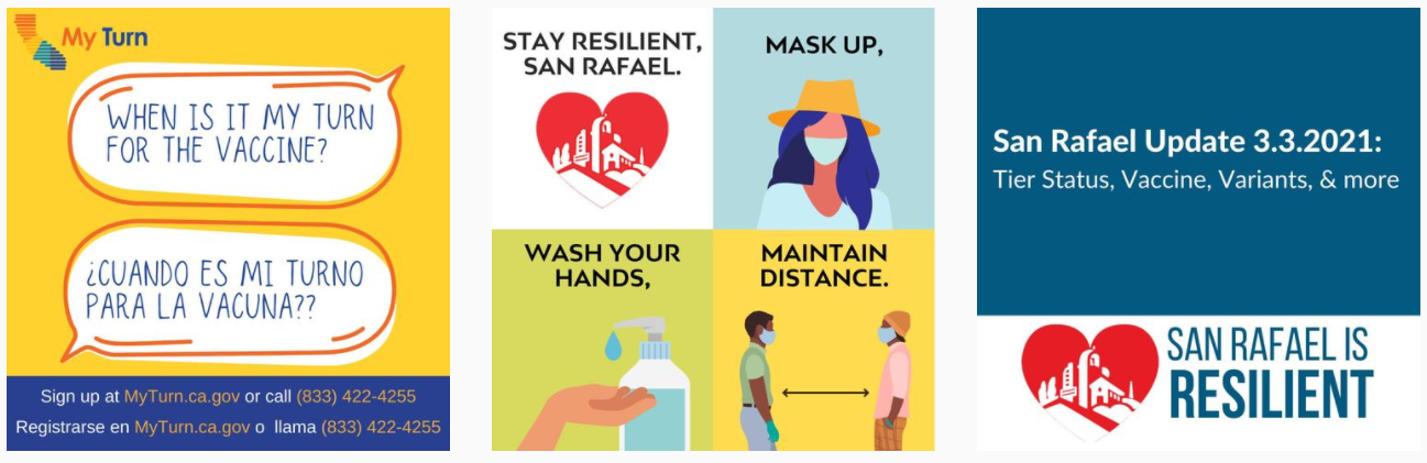 three random images from San Rafael's instagram page