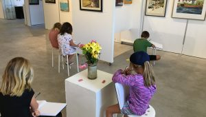 Kids drawing in the studio