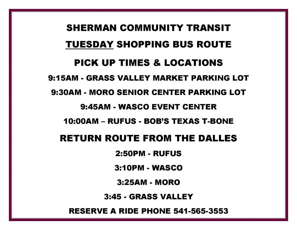 Tuesday Shopping Bus Schedule