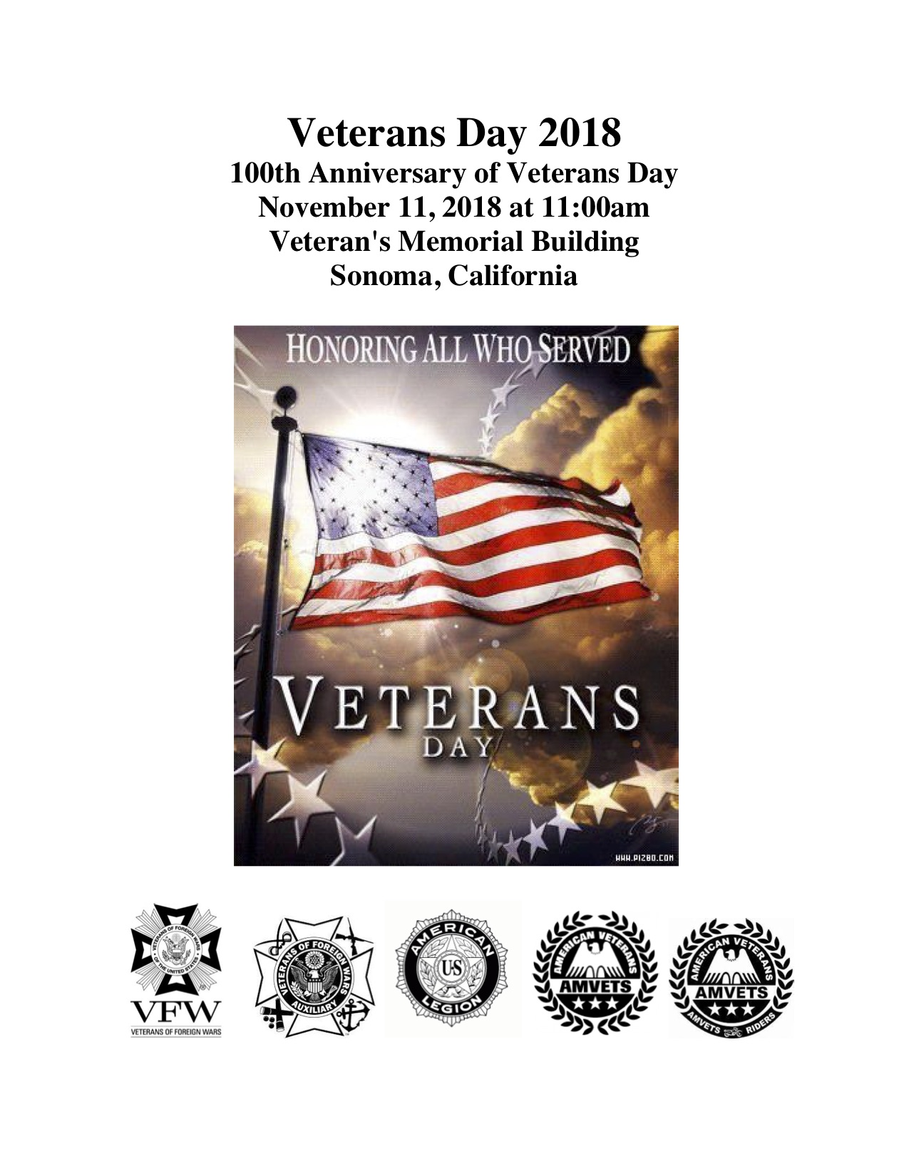 Veterans Day, November 11 2018