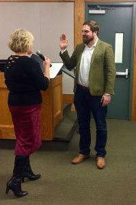 New Vice-Mayor Logan Harvey taking the Oath of Office