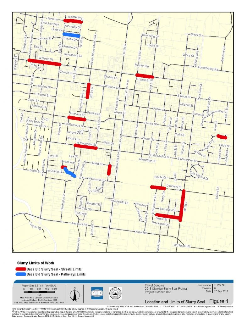 2018 Citywide Slurry Seal Project Location Map