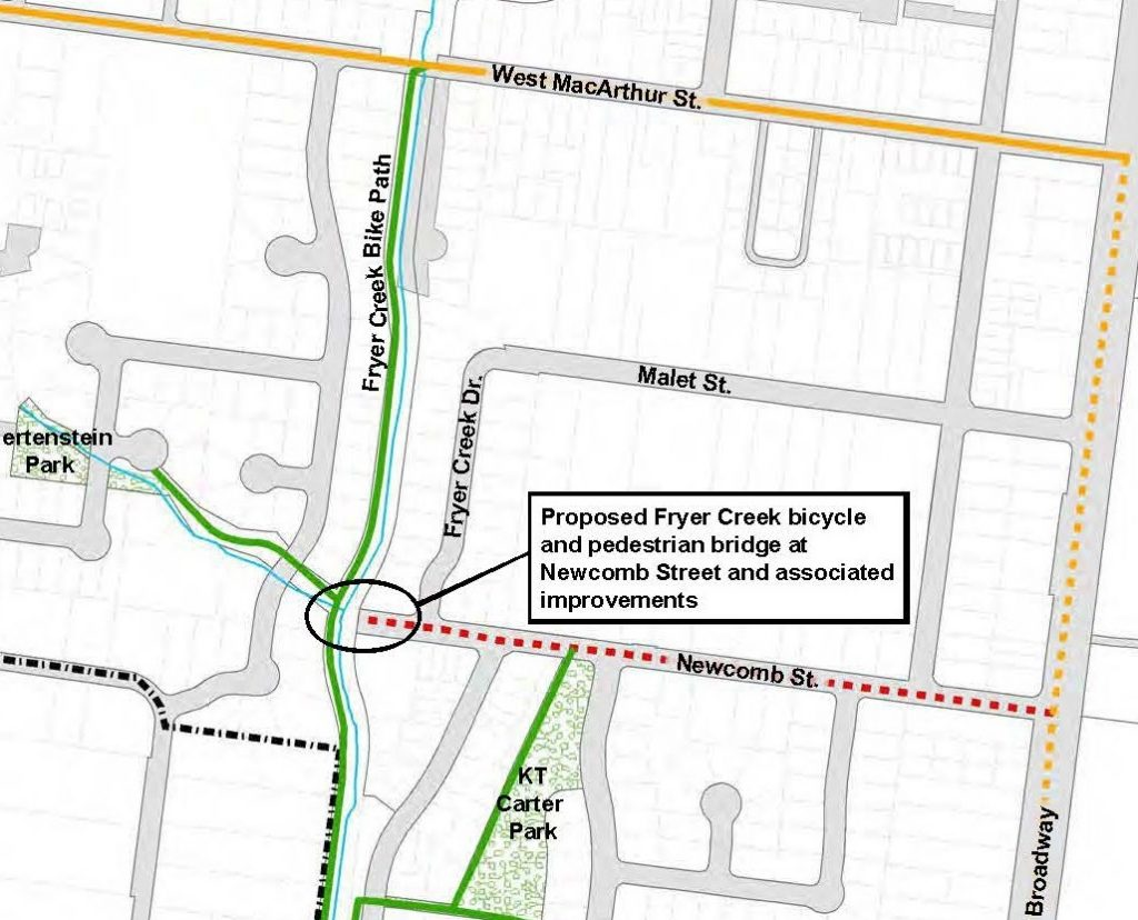 Fryer Creek Pedestrian and Bicycle Bridge Project Location Map