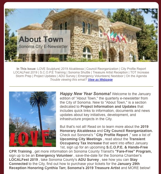 January About Town E-Newsletter