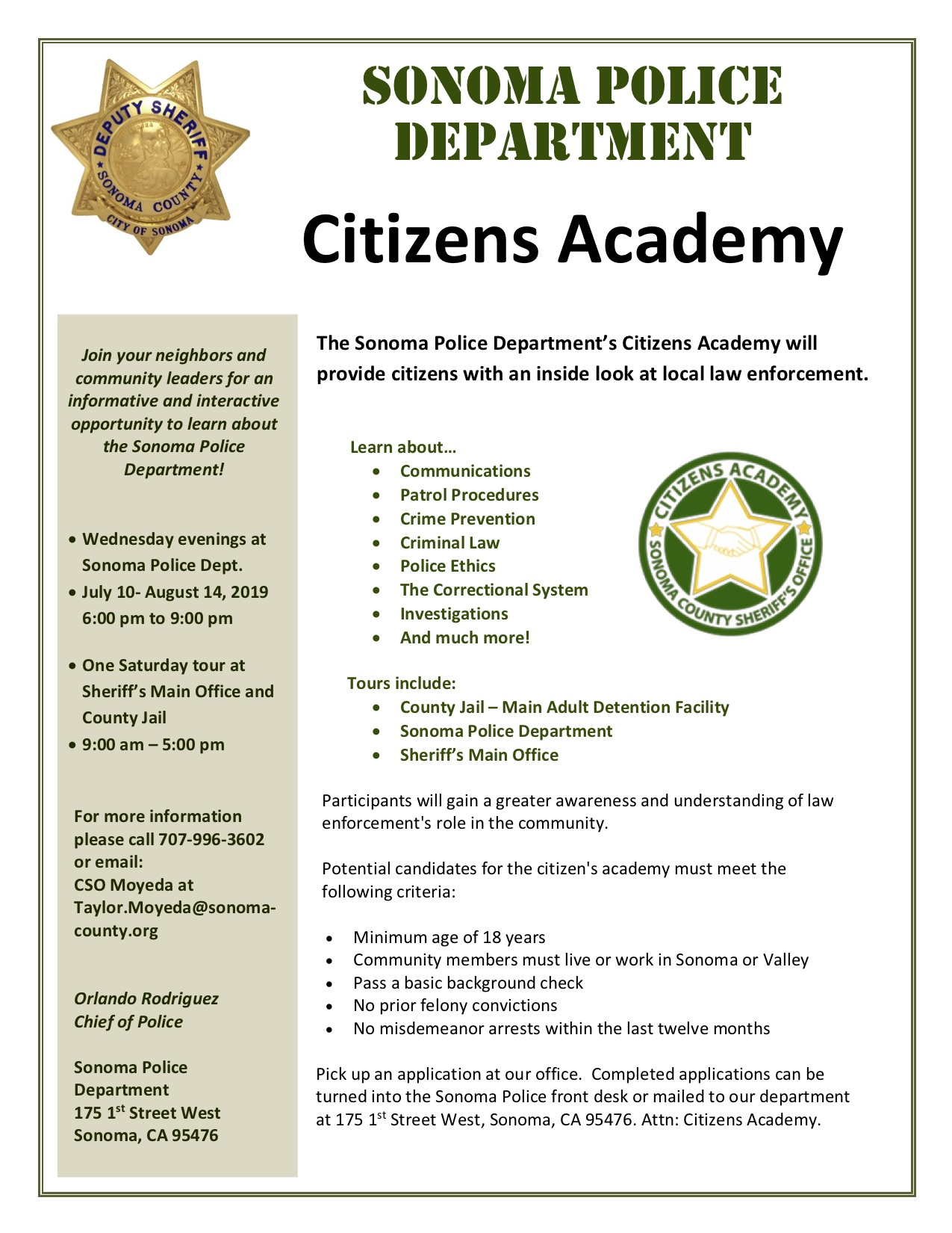 Sonoma Police Department Citizens Academy Now Accepting Applications