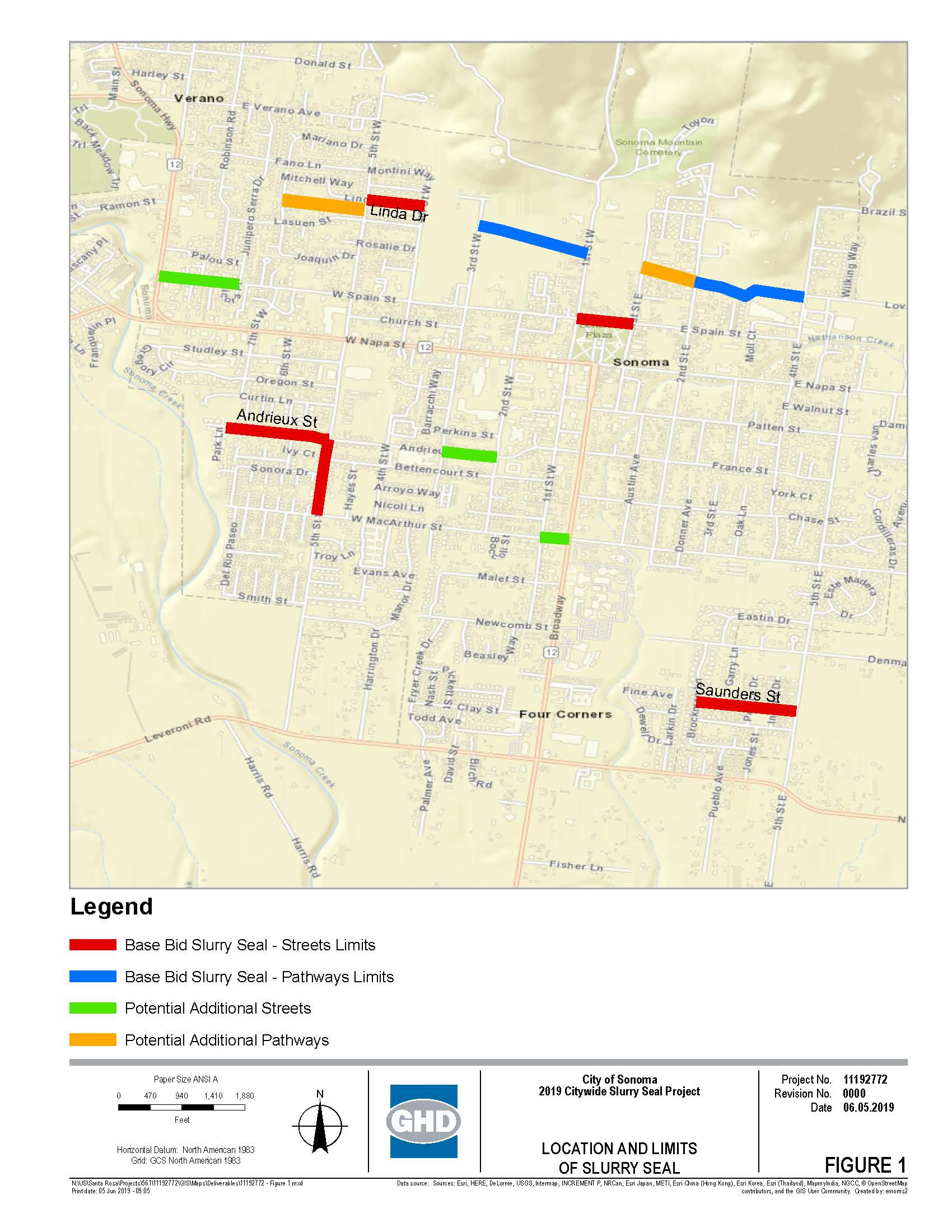 Map of Proposed Project Limits for 2019 Citywide Slurry Seal Project