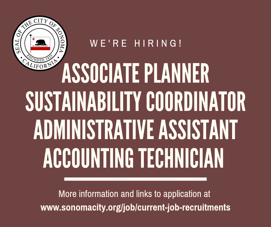 WE'RE HIRING, Associate Planner, Sustainability Coordinator, Administrative Assistant, Accounting Technician