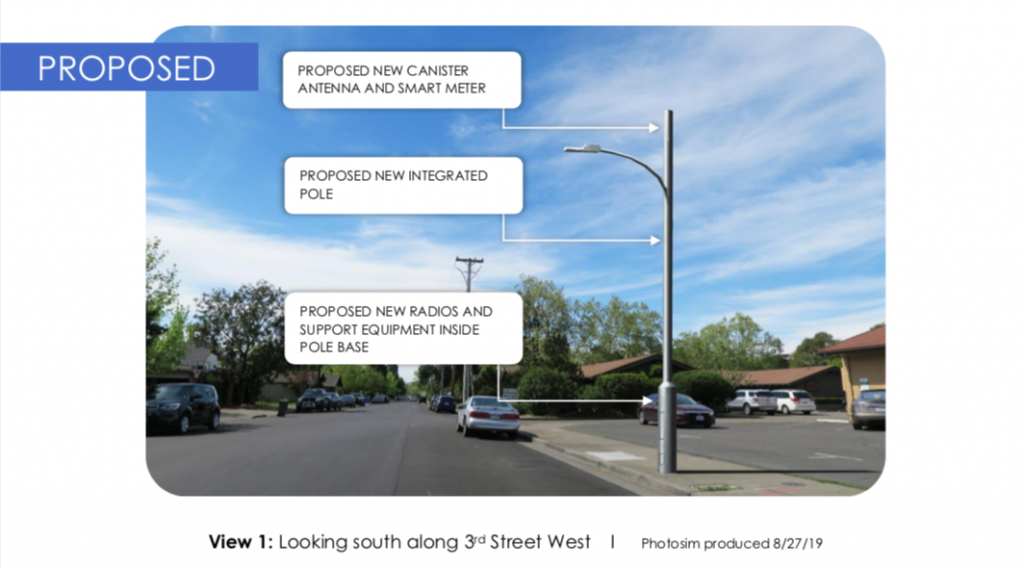 A photo rendering of a proposed Verizon Wireless Small Cell Node at 303 West Napa Street.