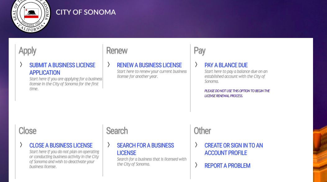 business license services website