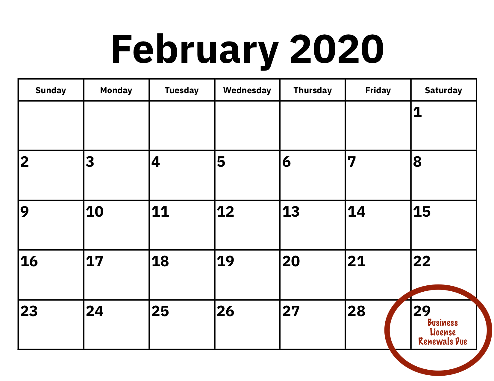 Business License Renewals Due 2/29/2020