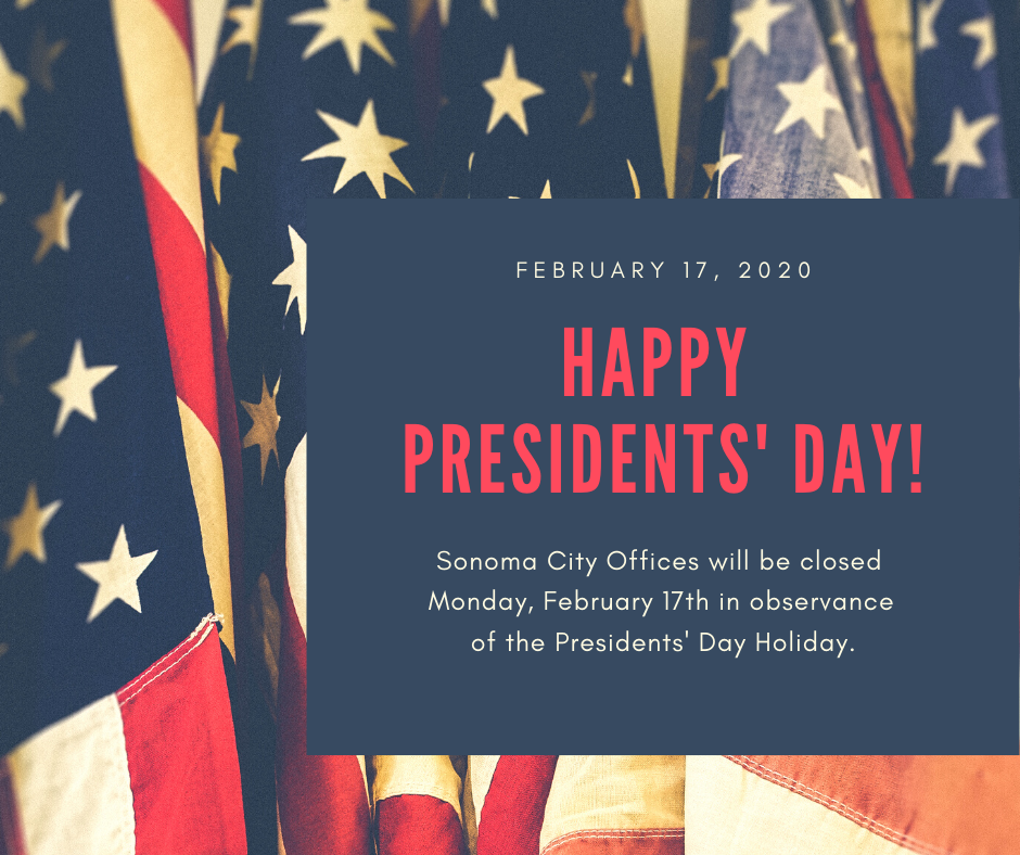 Closed for Presidents' Day, February 17th, 2020