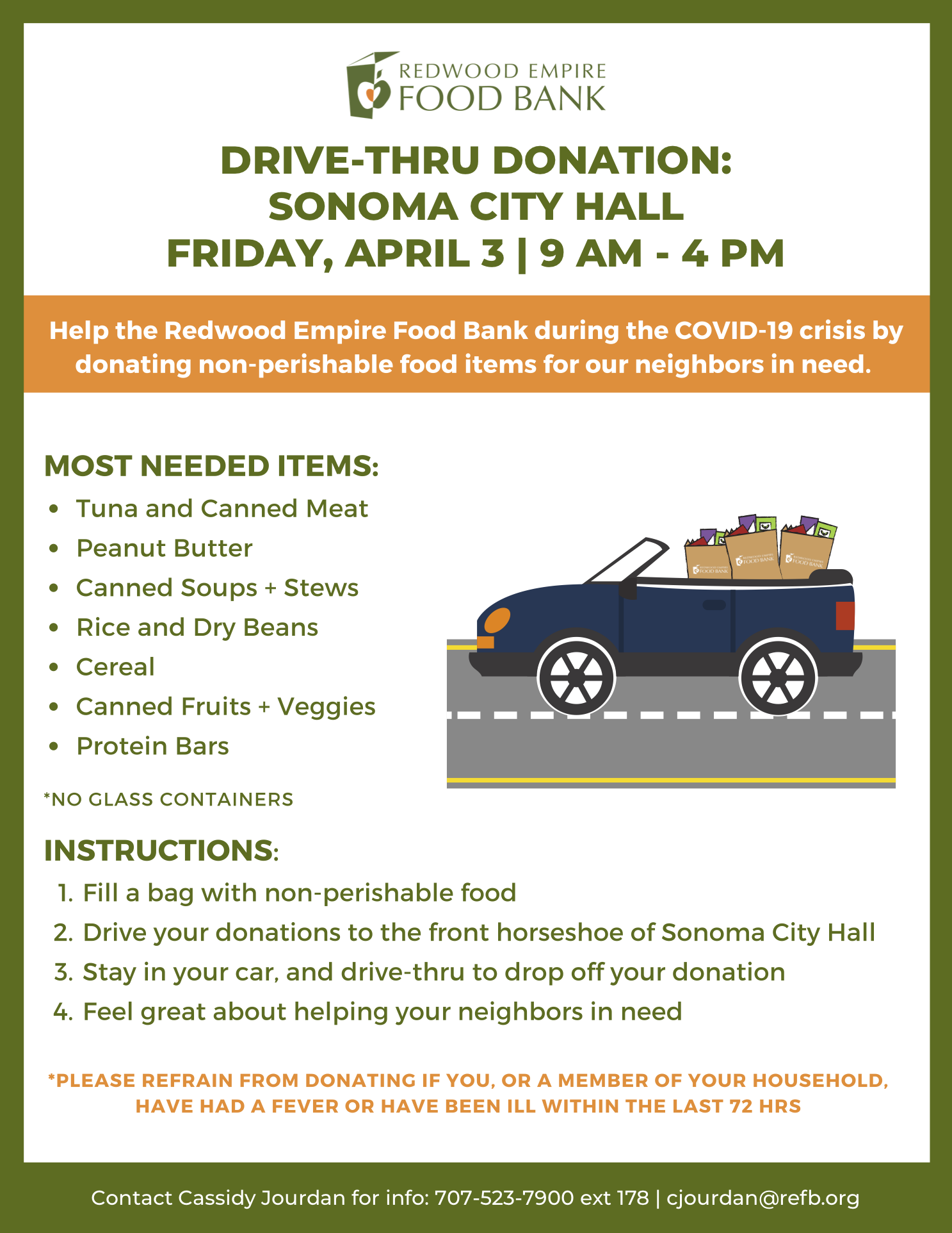 Drive Thru Donation at City Hall April 3rd
