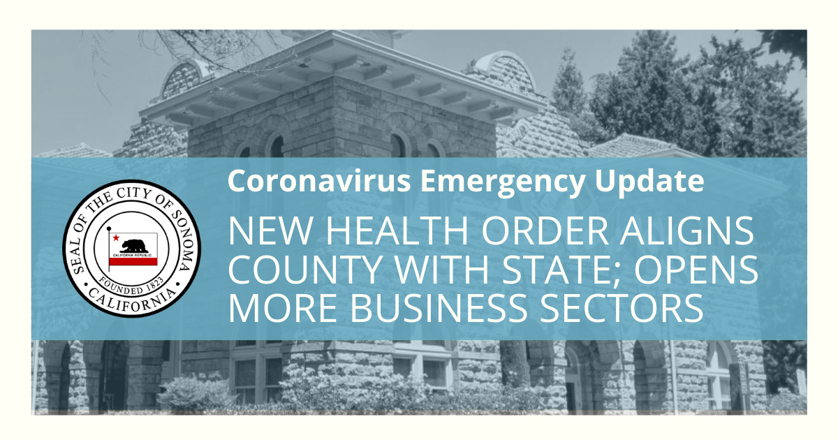 New Health Order Aligns County with State; Opens More Business Sectors