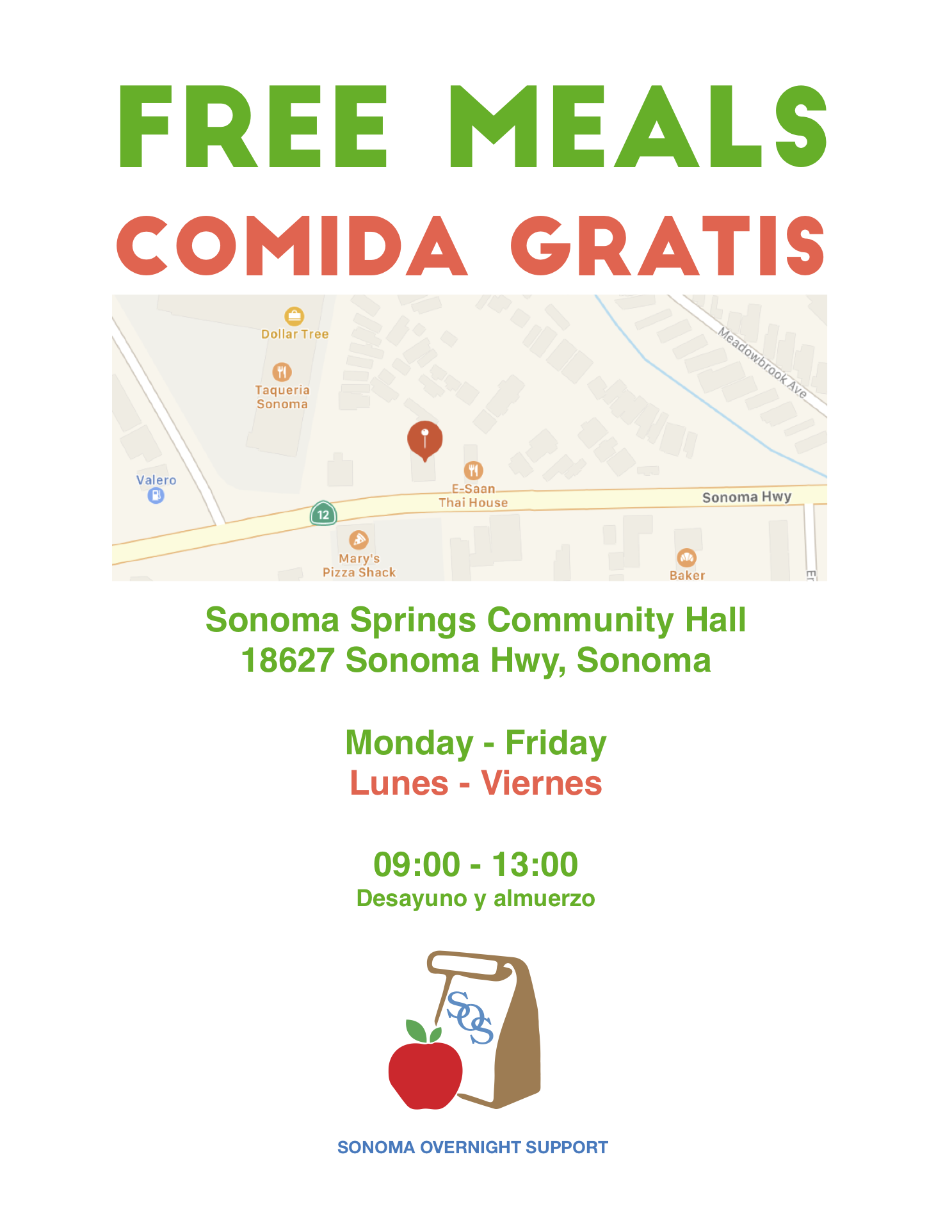 SOS Flyer for Free Meals at Sonoma Springs Community Hall