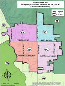 City of Sonoma Evacuation Zones, Map and Legend