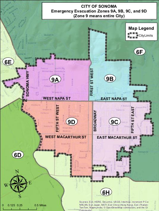 City of Sonoma Evacuation Zones, Map and Legend