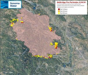 A Map Showing the Proximity of the Walbridge Fire to Sonoma Water Facilities