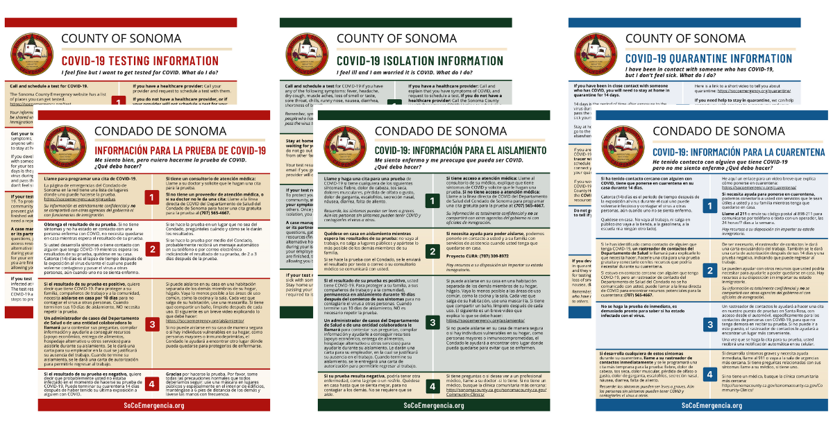 Sonoma County COVID-19 Testing, Quarantine and Isolation Guides