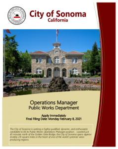 Operations Manager Public Works Department Brochure