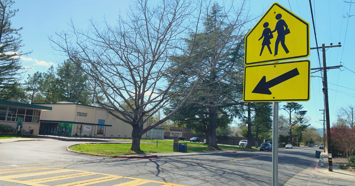 School Crossing Sign at Prestwood Elementary