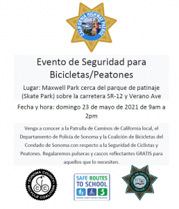 bike and pedestrian safety event flyer - spanish