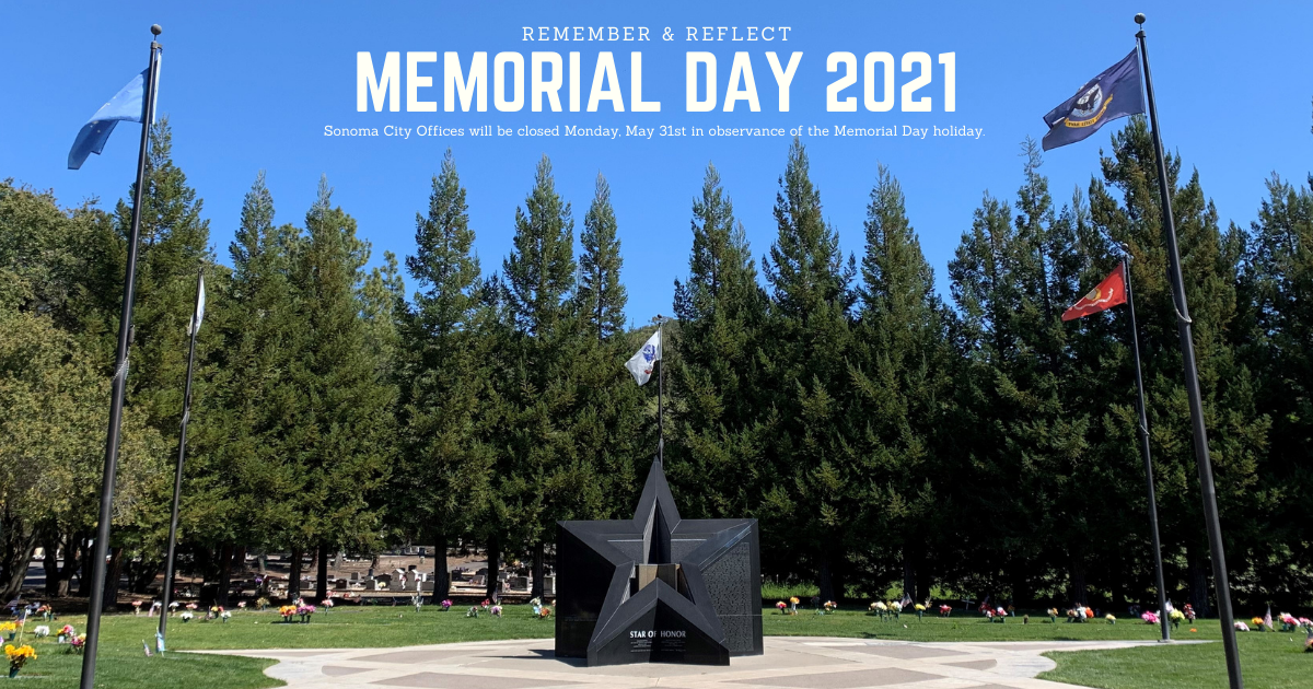 City offices closed May 31st in observance of Memorial Day