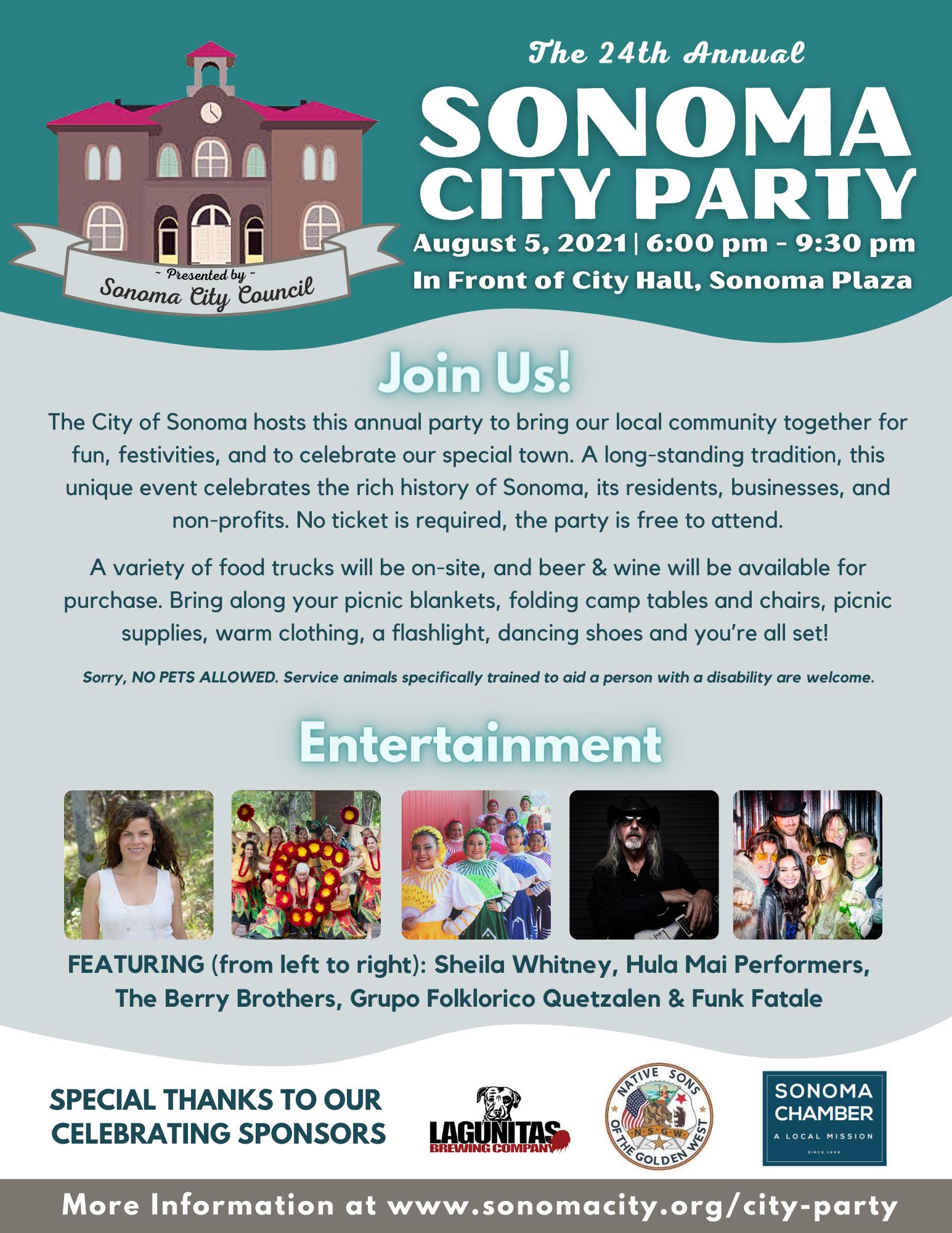 Sonoma City Party Flyer, English
