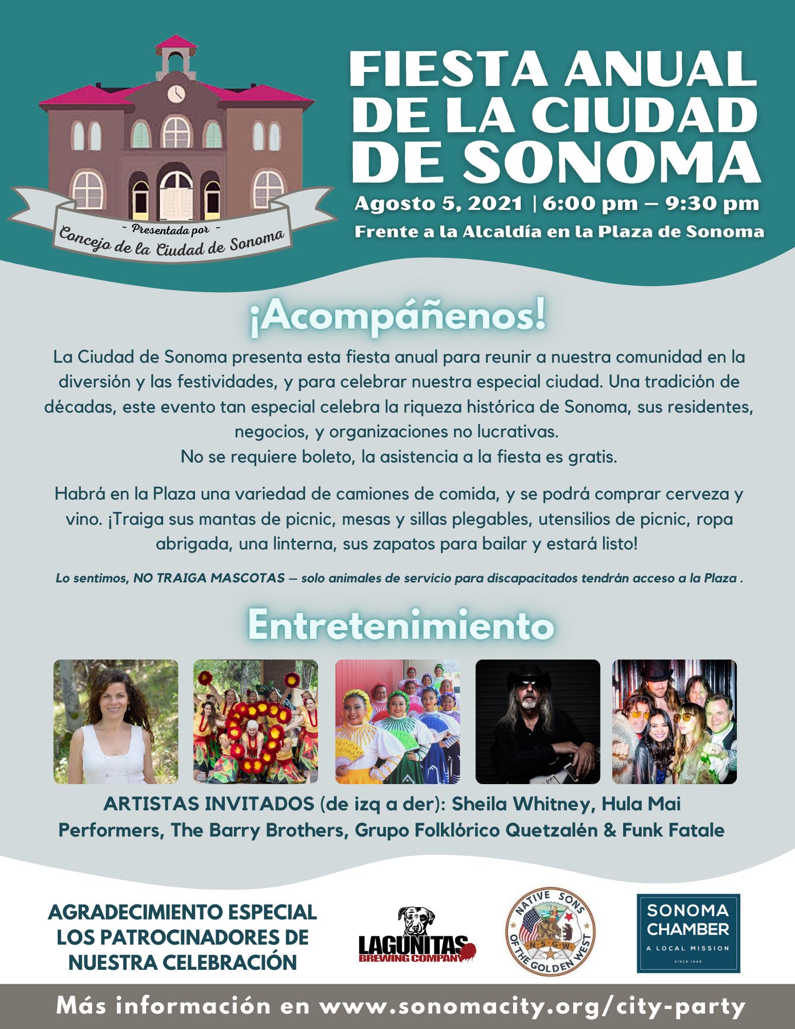 Sonoma City Party Flyer, Spanish