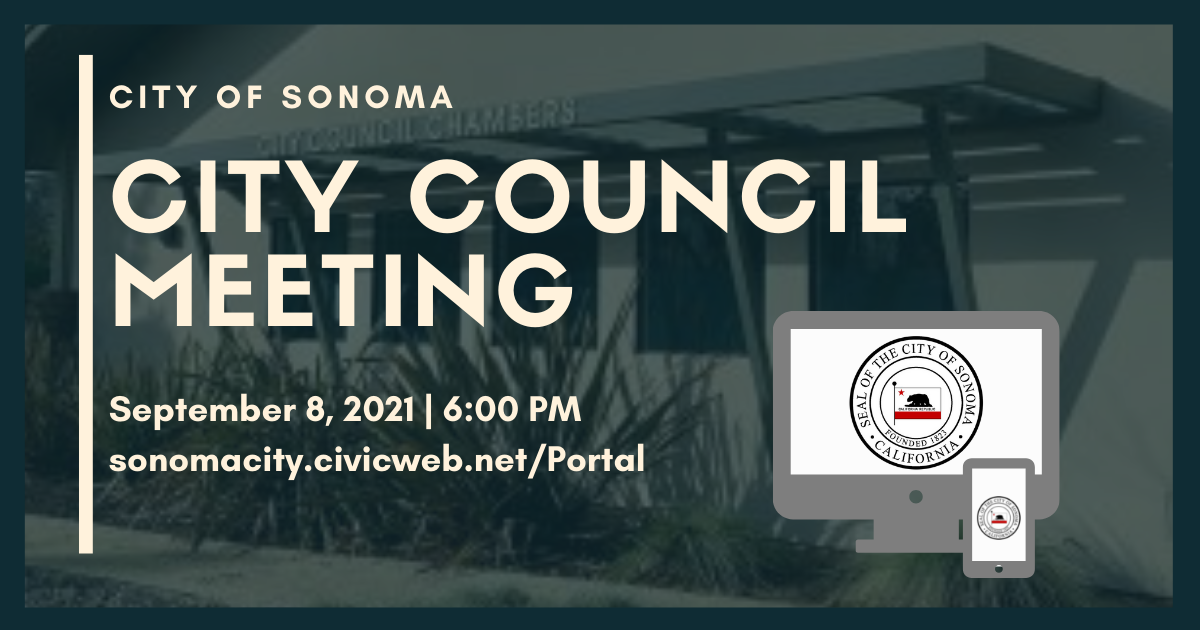 City Council Meeting, Sept. 8th, 6pm