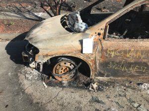 Burned Vehicle in Street