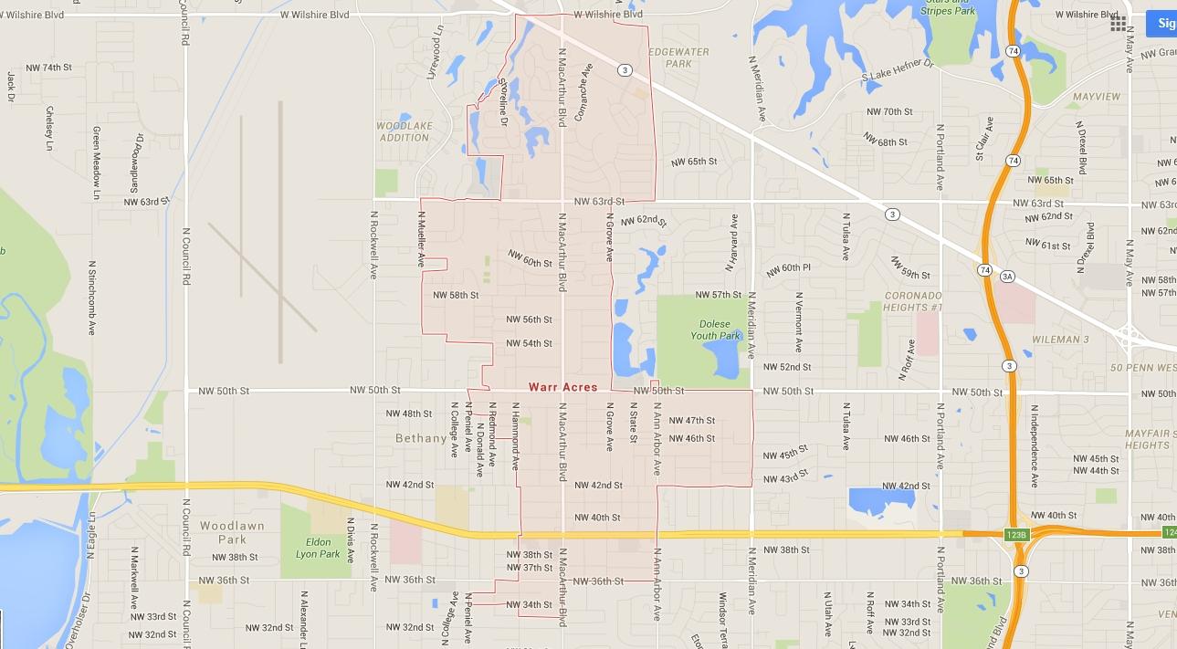 Oklahoma City Ok Zip Code Map.City Maps City Of Warr Acres