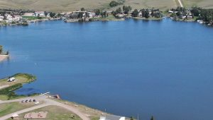 Aerial view of Blacktail Dam