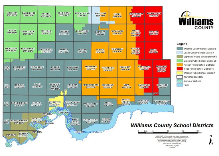 Map of Williams County School Districts