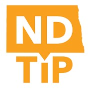 Logo for ND Tip with words and shape of the state of North Dakota