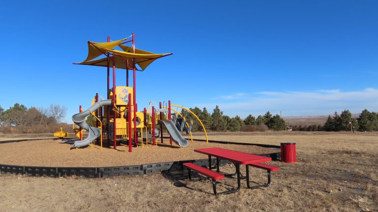 Playground with picnic bench