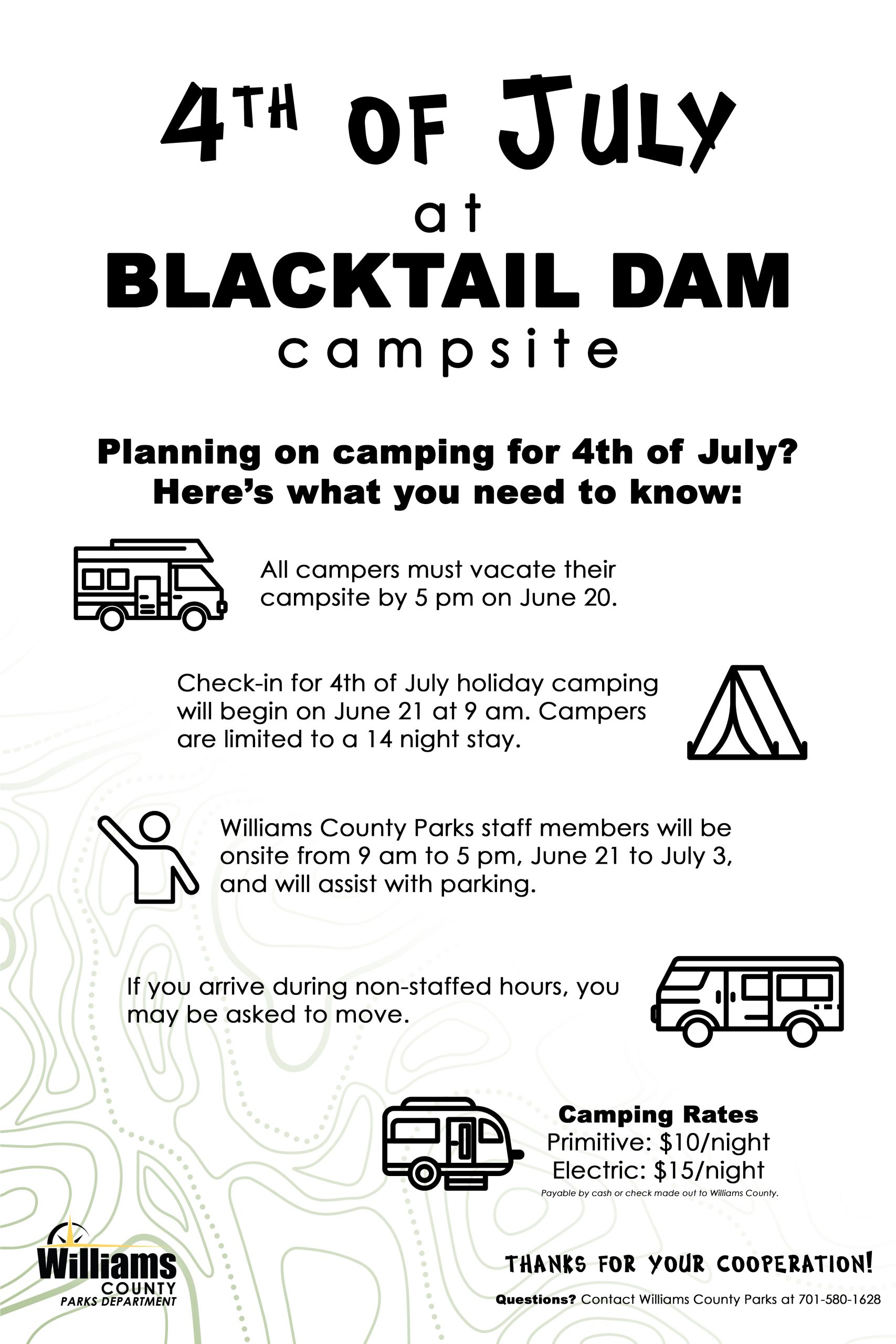 Sign with information about 4th of July camping at Blacktail Dam