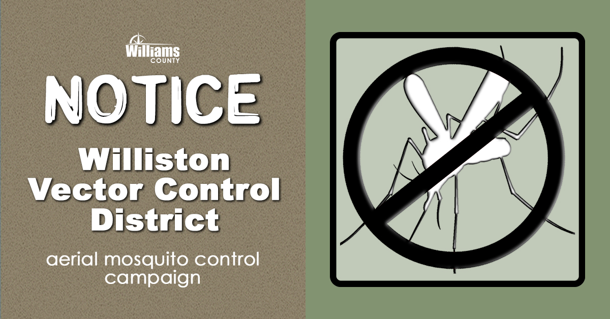 Notice of aerial adulticide campaign with image showing a mosquito crossed out