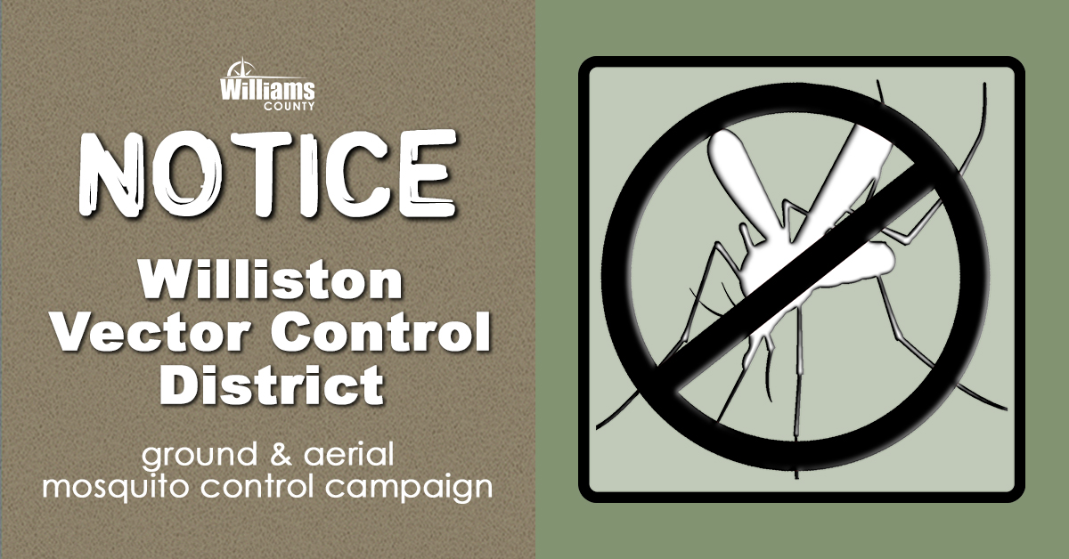 Notice of ground and aerial adulticide campaign with image showing a mosquito crossed out