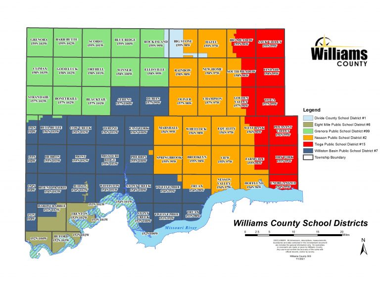 Color coded map of school districts in Williams County