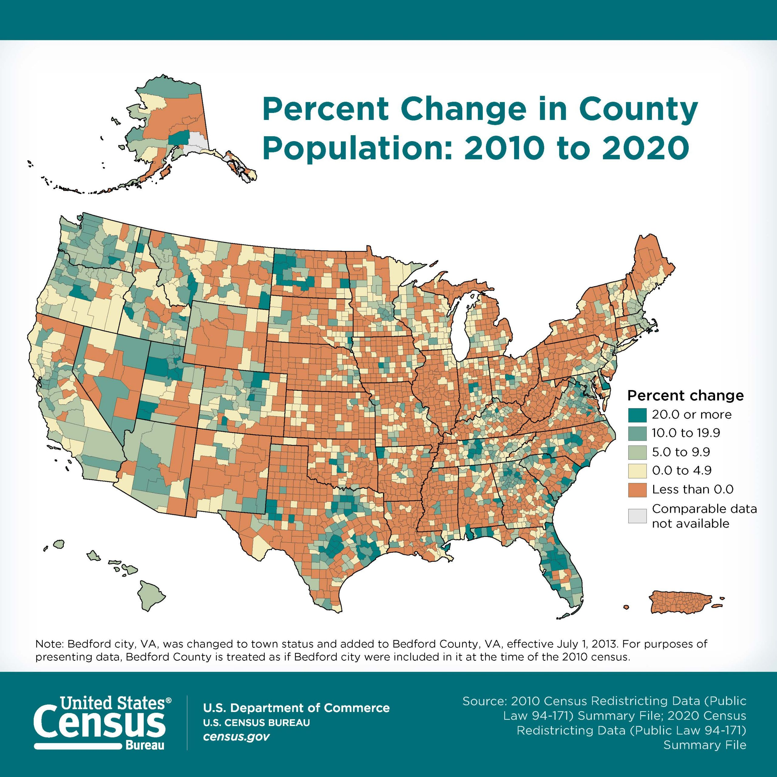 Map of the United States showing the percent change in county population from 2010 to 2020