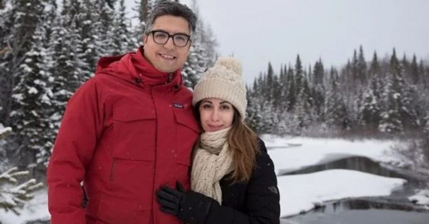 Arvin Morattab and Aida Farzaneh in the snow