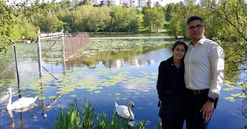 Arvin Morattab and his wife, Aida Farzaneh and swans