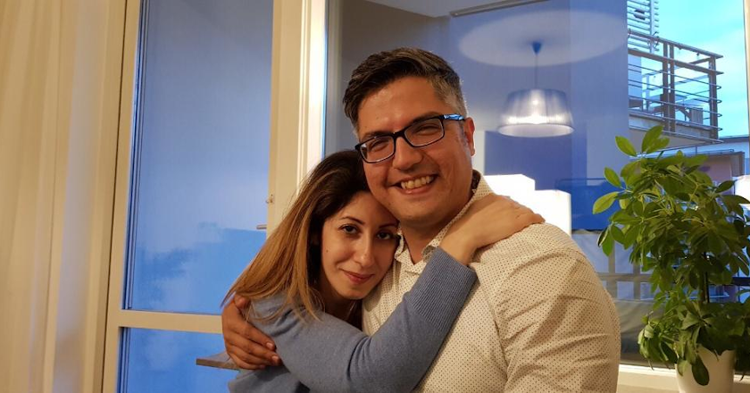 Arvin Morattab with his wife, Aida Farzaneh