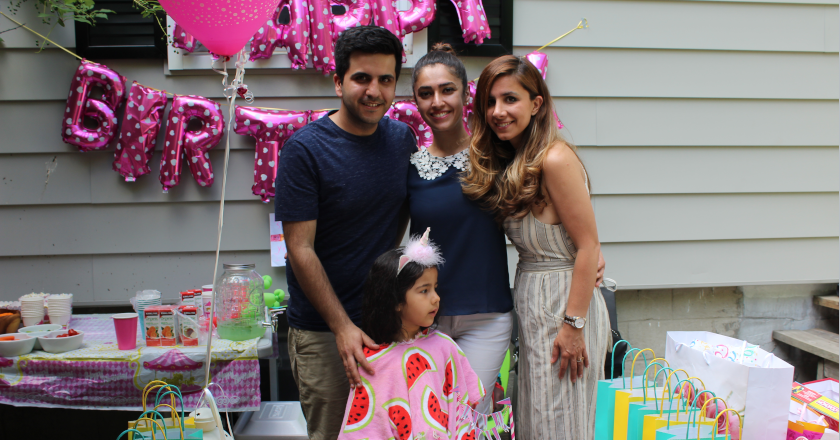 Sahand and Alvand Sadeghi, Sophie Emami and Negar Borghei in a Birthday party