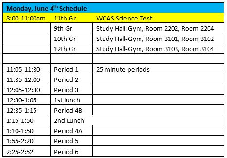 June 4 Schedule